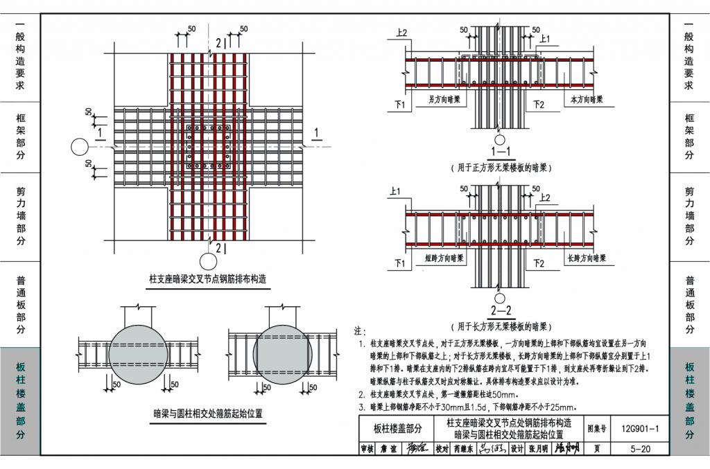 12g901-1:混凝土结构施工钢筋排布规则与构造详图